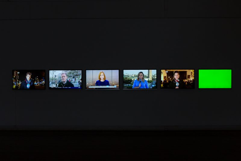 Latent Images, 2016, 6-channel video installation (colour and sound), 9:14 min, looped. Installation view in 'The Anticipated Image' at Kudos Gallery. Image credit: Document Photography