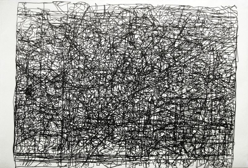Drawing #3 produced during the live drawing Torrent, 2012. .