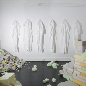 Plush Ruins, mixed-media installation (interactive), polyurethane foam, painting suits, glue, dimensions variable, 2014