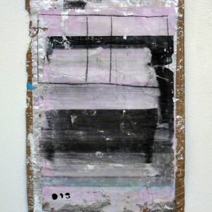 Extrusion into Hyperspace, charcoal, print transfer, acrylic on found material, 45 x 30 cm, 2010