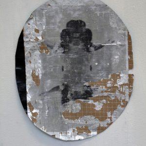 Floating, acrylic and photographic transfer on found material, 43 x 36 cm, 2010