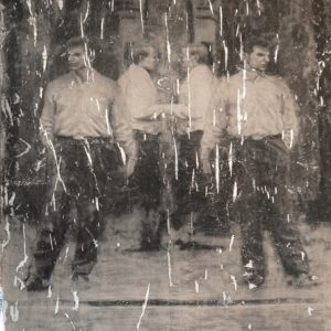 (Per)version of (Di)vision, charcoal drawing transfer and foil on paper, 103 x 77 cm, 2010