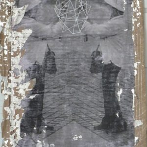 Spectacular Spectre, acrylic and photographic transfer on found material, 45 x 32 cm, 2010